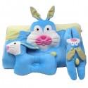ที่นอนปิคนิครูปสัตว์ ผ้ากำมะหยี่ ลายกระต่าย สีฟ้า