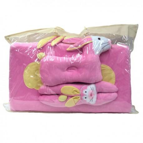 ที่นอนปิคนิครูปสัตว์ ผ้ากำมะหยี่ ลายกระต่าย สีชมพู