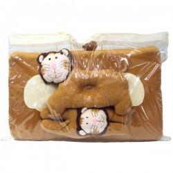 ที่นอนปิคนิครูปสัตว์ ผ้ากำมะหยี่ ลายสิงโต สีน้ำตาล