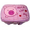 ตะกร้าหุ้มผ้า ลายปุ๊กกี้ ขนาดกลาง สีชมพู